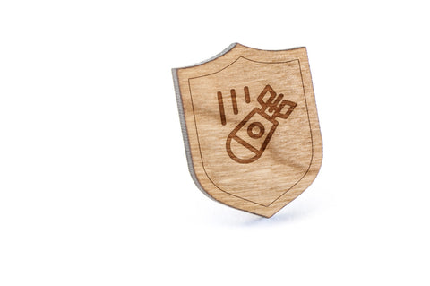 Bomber Wood Lapel Pin