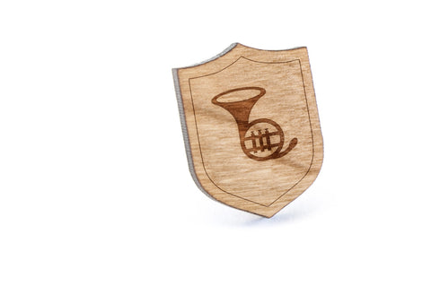 French Horn Wood Lapel Pin