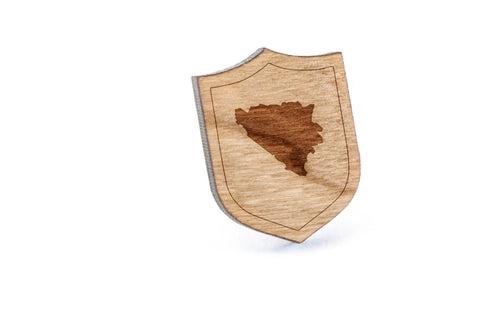 Bosnia And Herzegovina Wood Lapel Pin