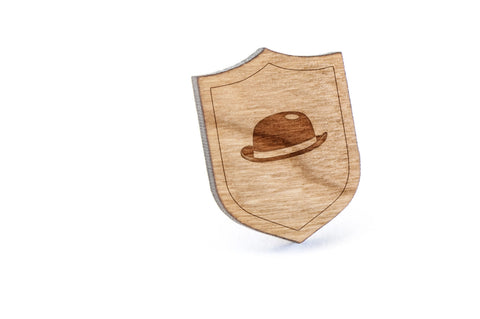 Bowler Hat Wood Lapel Pin