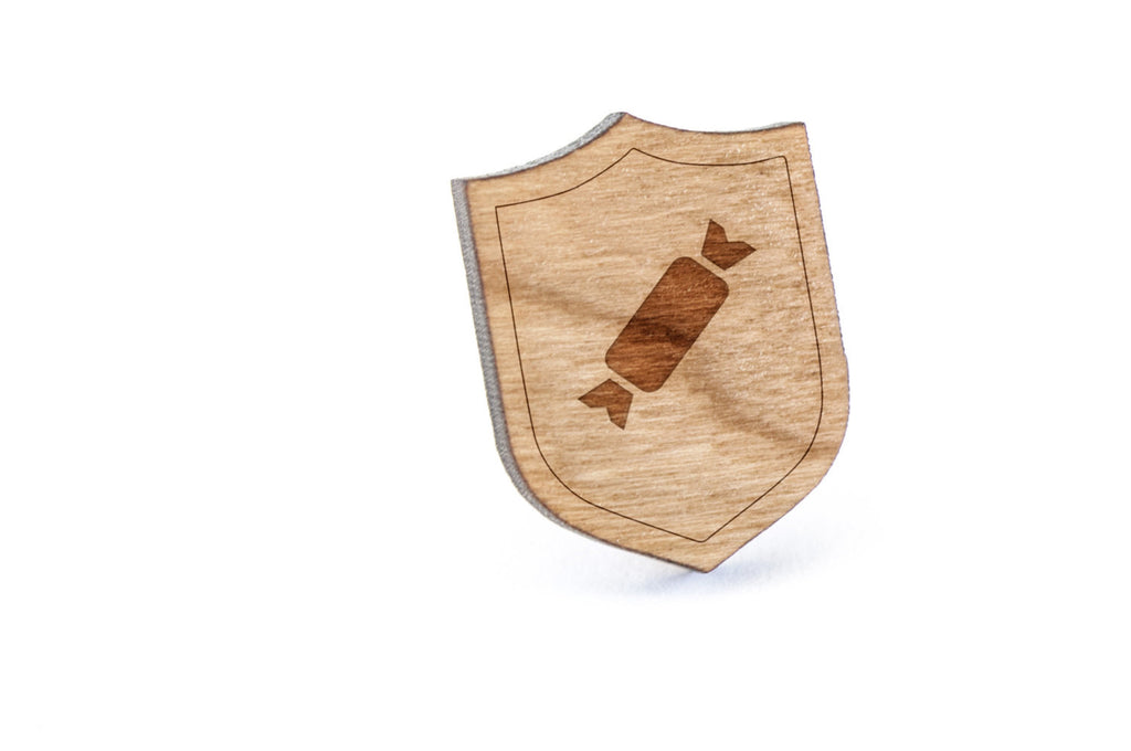 Wrapped Candy Wood Lapel Pin