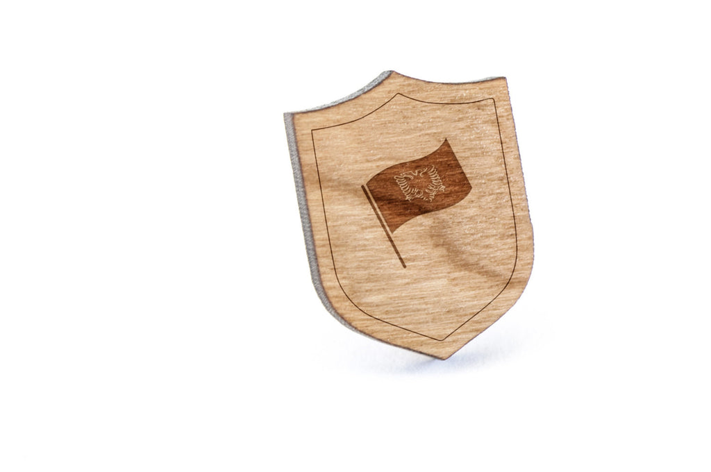 Albanian Flag Wood Lapel Pin