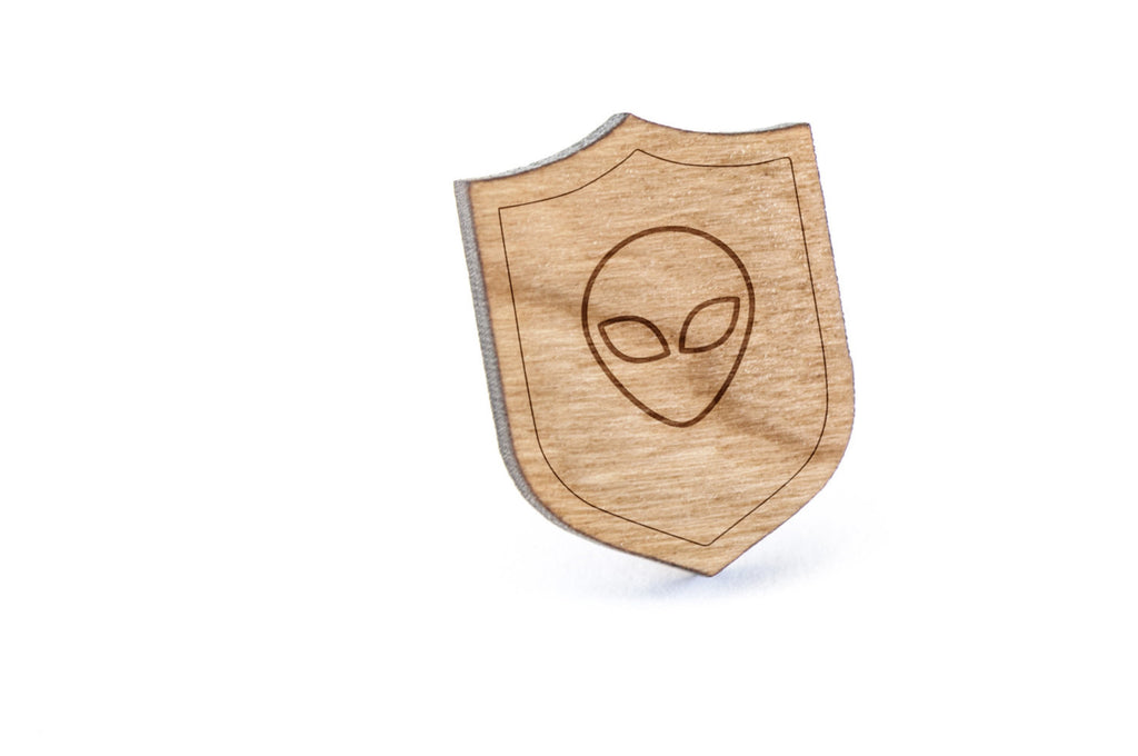 Alien Wood Lapel Pin