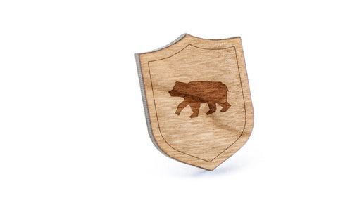 Brown Bear Wood Lapel Pin