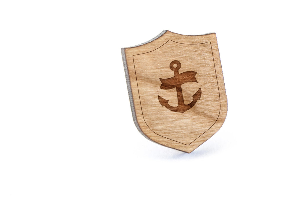 Anchor Navy Wood Lapel Pin