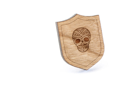 Day Of The Dead Skull Wood Lapel Pin