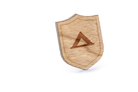 Camping Wood Lapel Pin