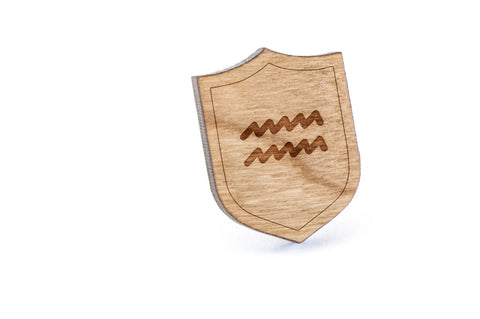 Aquarius Wood Lapel Pin