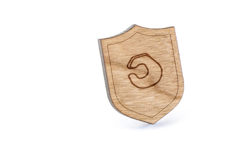 Asl C Wood Lapel Pin