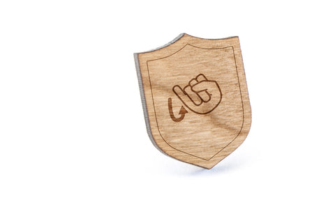 Asl J Wood Lapel Pin