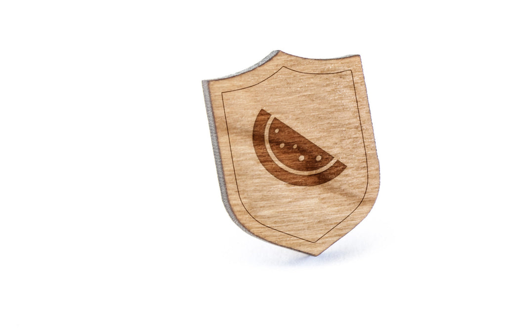 Watermelon Slice Wood Lapel Pin