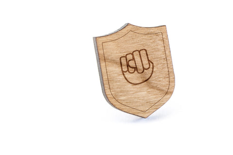 Asl N Wood Lapel Pin