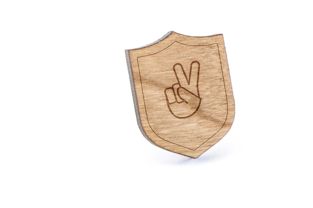 Asl V Wood Lapel Pin