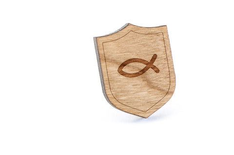Atheist Symbol Wood Lapel Pin