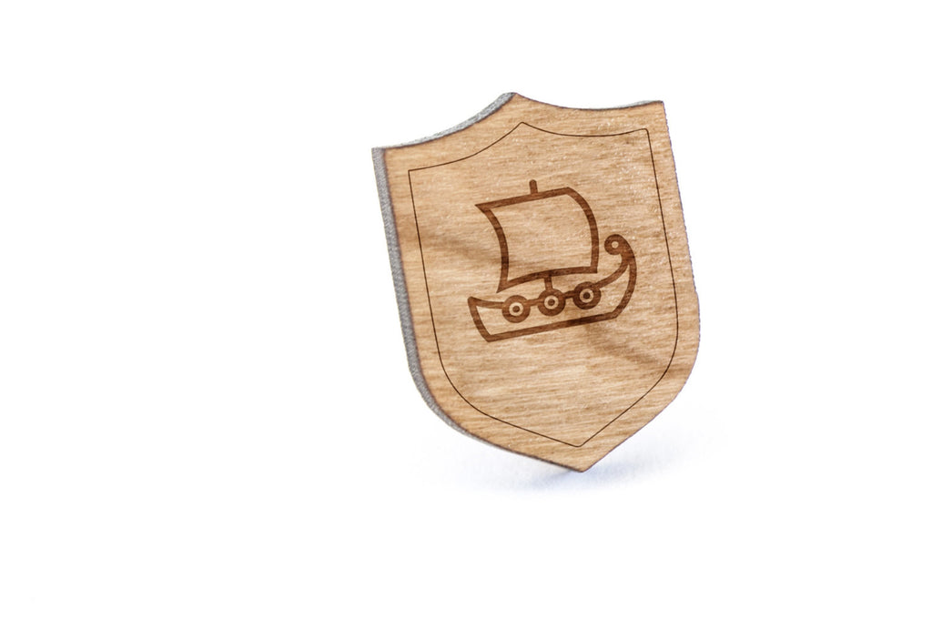 Viking Ship Wood Lapel Pin