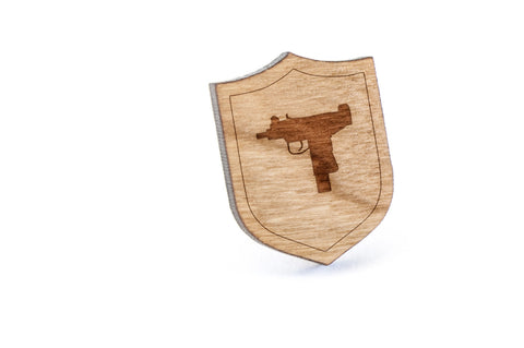 Uzi Wood Lapel Pin