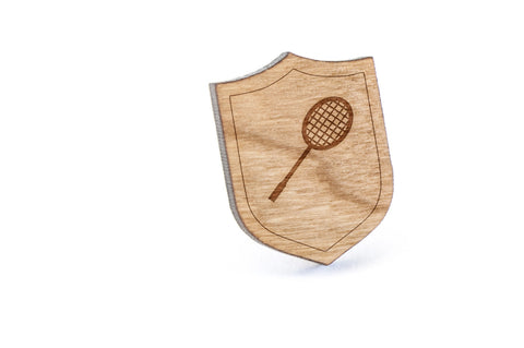 Badminton Racket Wood Lapel Pin