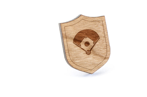 Baseball Diamond Wood Lapel Pin