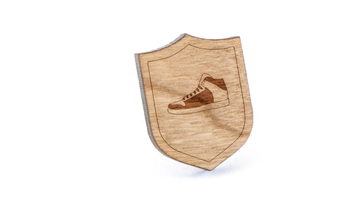 Basketball Sneaker Wood Lapel Pin