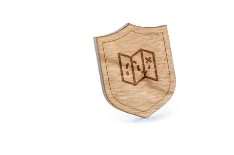 Treasure Map Wood Lapel Pin