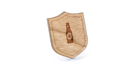 Beer Bottle Wood Lapel Pin
