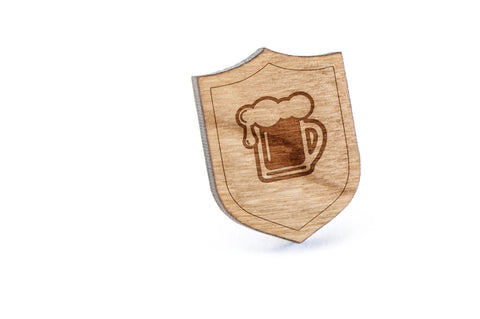 Beer Pint Wood Lapel Pin