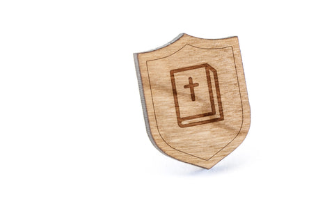 Bible Wood Lapel Pin