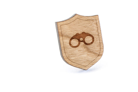 Binoculars Wood Lapel Pin