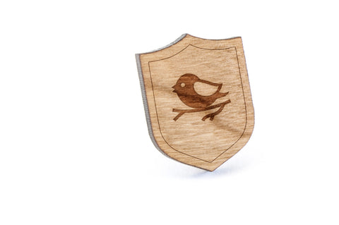 Bird On Branch Wood Lapel Pin