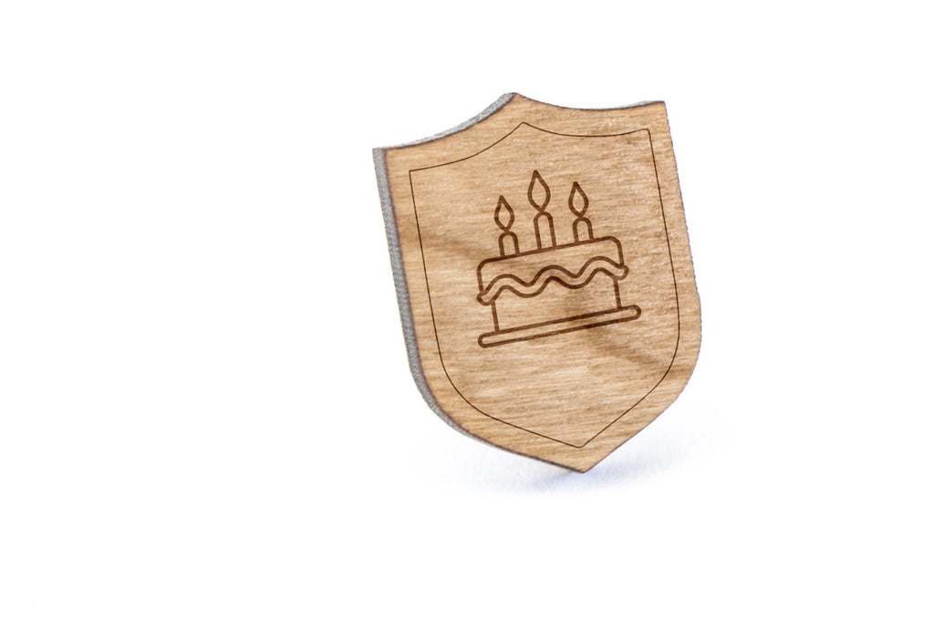 Birthday Cake Wood Lapel Pin