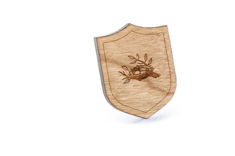 Birds Nest Wood Lapel Pin