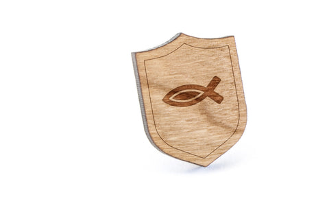 Jesus Fish Wood Lapel Pin