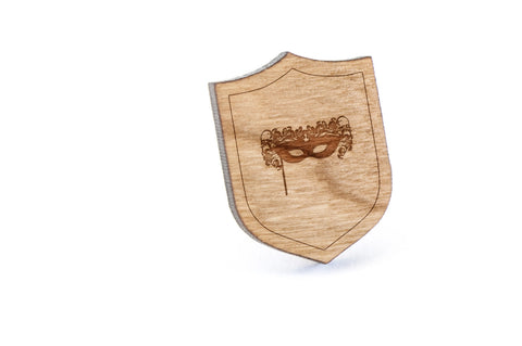 Masquerade Mask Wood Lapel Pin