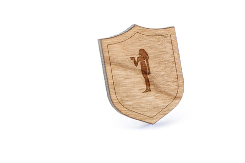 Hieroglyph Wood Lapel Pin