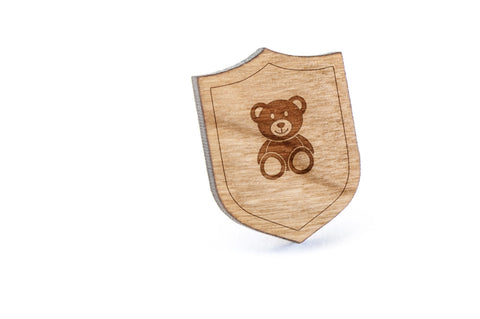 Teddybear Wood Lapel Pin