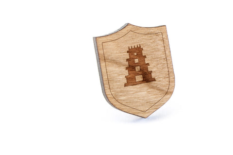 Temple Wood Lapel Pin