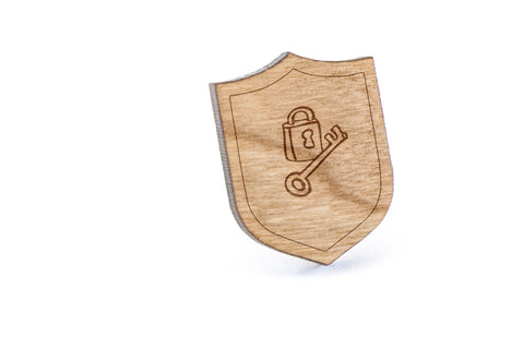 Lock And Key Wood Lapel Pin