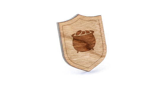 Pot Of Gold Wood Lapel Pin