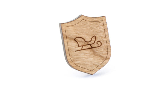Santa Sleigh Wood Lapel Pin