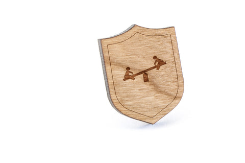 Seesaw Wood Lapel Pin