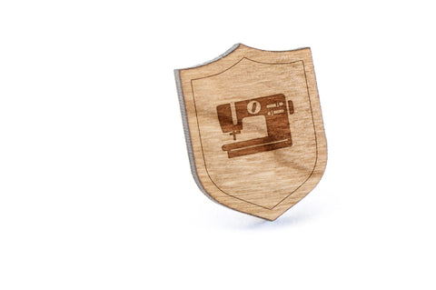 Sewing Machine Wood Lapel Pin
