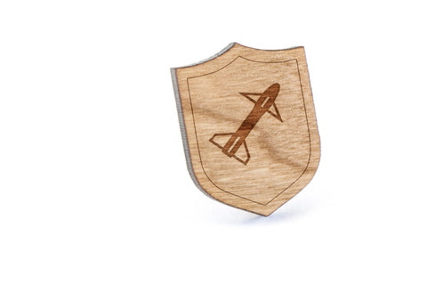 Rocket Wood Lapel Pin