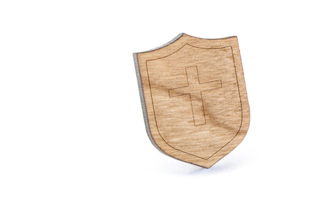 Roman Cross Wood Lapel Pin