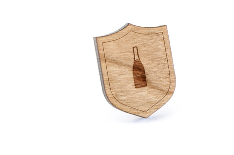 Champagne Bottle Wood Lapel Pin