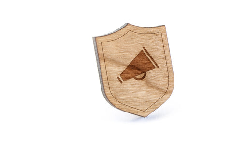 Cheerleader Megaphone Wood Lapel Pin