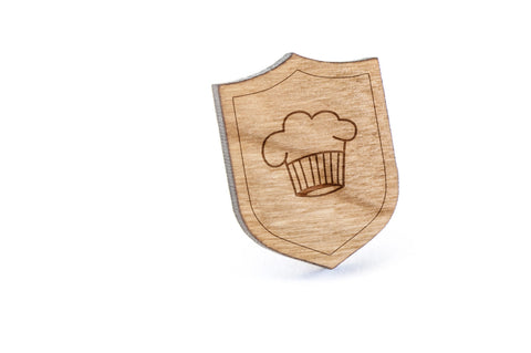 Chefs Hat Wood Lapel Pin
