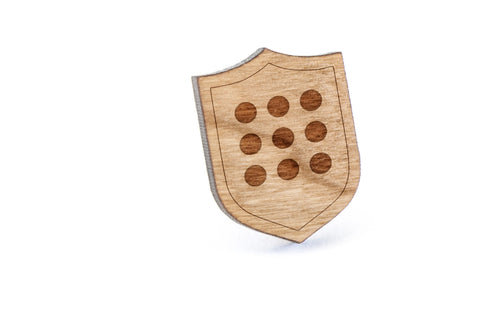 Circle Grid Wood Lapel Pin