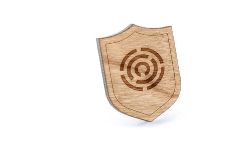 Circle Maze Wood Lapel Pin