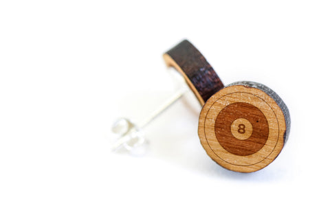 8 ball Wood Earrings