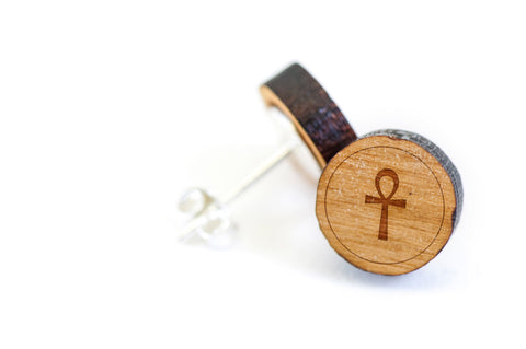 Ankh Wood Earrings
